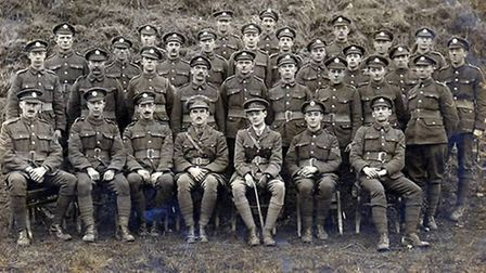 Suffolk Regiment WW1, RSM Walter Goody of Long Melford front row 3rd from left, KIA in 1916 awarded
