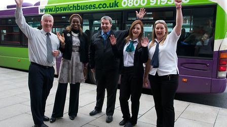 Malcolm Robson, MD Ipswich Buses celebrates success with Kem Masinbo-Amob, new Non Exec Director of