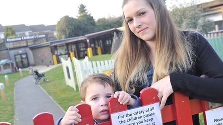 Megan Williams with her son David Gatt, two and a half, is upset that the Ormiston Children's Centre