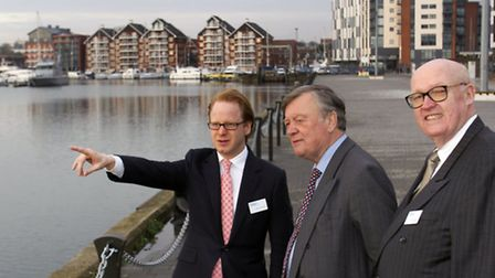 The Rt Hon Kenneth Clarke MP, centres, with Ipswich MP Ben Gummer, left, and the chairman of the Ip