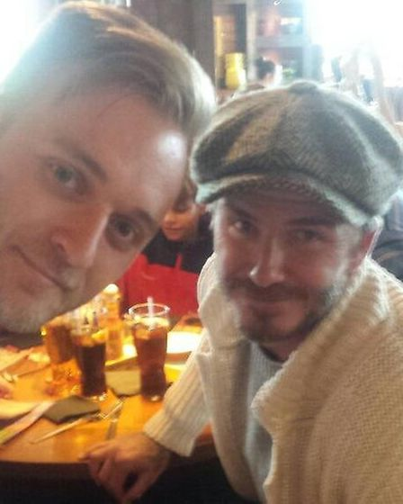 Ashley Eales in the restaurant with David Beckham.