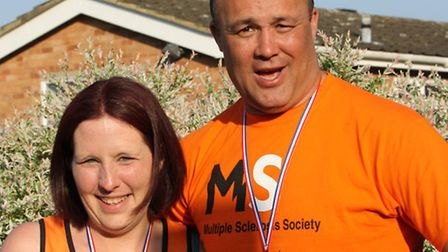 Linda Young and Rory Marriott, who have become fundraising partners at the Ipswich ParkRun. Pic: Pau