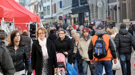 Shoppers on the Cornhill