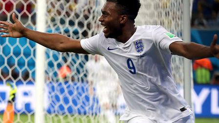 England's Daniel Sturridge celebrates scoring his side's first goal of the game during the FIFA Worl