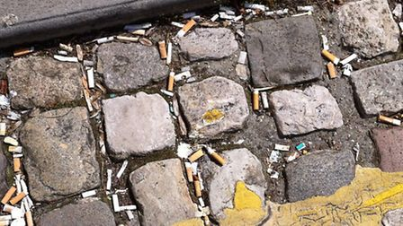 Smokers' rubbish outside Direct Line's offices in Ipswich.