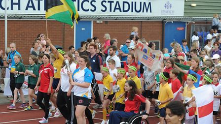 Olympian Louise Dukes carries the Queens Baton at Quad Kids event at Northgate Sports Centre.