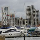A view from Ipswich Waterfront with the unfinished 'Wine Rack' in the background