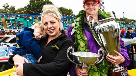 Family portrait: New National Hot Rod world champion Chris Haird, with his wife Danielle and daughte