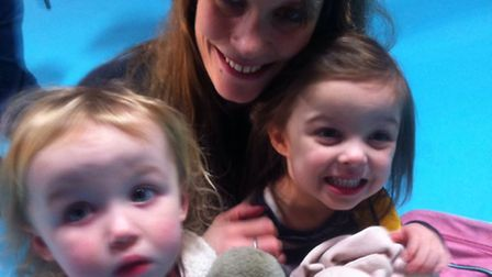 Donna Sadler with her children Chloe, 2, and Beth, 4