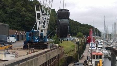 Vehicle lifted from the water at Levington Marina