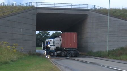 A lorry which jack knifed in Felixstowe