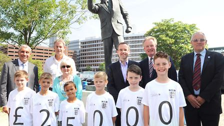 Lady Robson and Mark Robson joined the FA to celebrate Sir Bobby Robson Day, five years to the day s