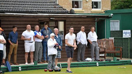 Tom Stanes memorial bowls match. Mark Selby bowling.