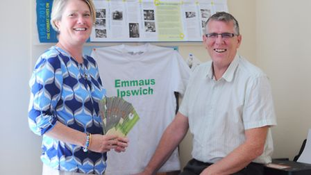 Claire Staddon is launching a branch of Emmaus in Ipswich. Claire with Brian Tobin of The Iceni proj