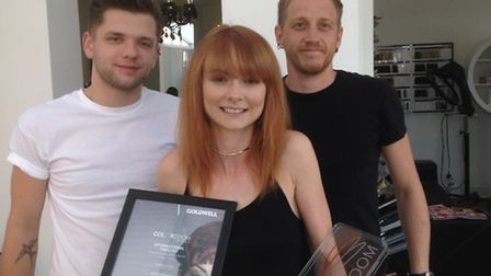Goldwell Color Zoom award winner Jessica Hay of Hanks Hairdressing, Ipswich Jessica with her trophy