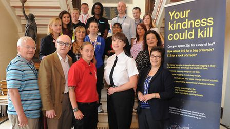 """""""Your Kindess could Kill"""" Multi-agency poster campaign launch to address begging Cllr Roger Fern, De"""