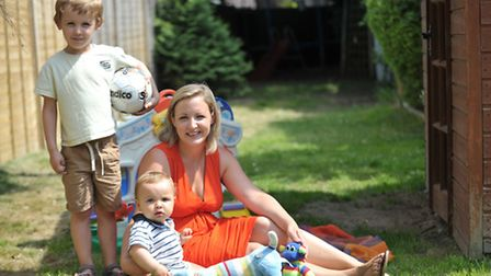 Adrienne Ablitt with her two boys Frankie (baby) and Charlie.