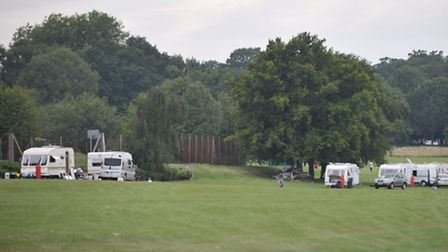 Travellers at Gippeswyk Park in Ipswich
