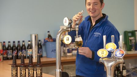 Fergus Fitzgerald, head brewer at Adnams, launching the company's Jack Brand Dry Hopped lager in 2