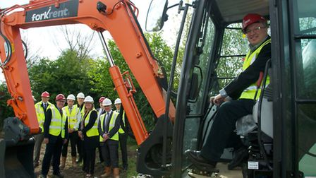 Work starts on the first new council houses in Ipswich for 20 years. David Ellesmere in the digger.
