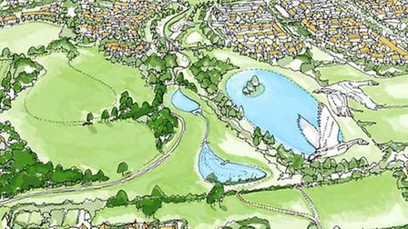 """Ipswich Garden Suburb artists impression - the """"lakes"""" in the foreground would only hold water after"""