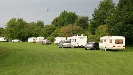 Travellers set up camp in Langer Park, Felixstowe, in June this year