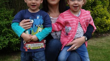 Jacqui Carter with twins Ewan and Florence