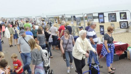 Crowds view art on the seafront in Felixstowe for the annual Art of the Proms event on Sunday, 7 Sep