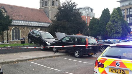 Two vehicles were involved in a collision in St Nicholas Street car park in Ipswich on Tuesday.