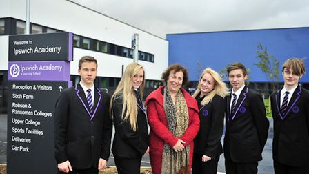 Pupils and Staff at Ipswich Academy as they moved into their new building Academy Head Nancy Robinso