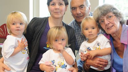 Harriet, Fraya and Gabriella Temple celebrate their 2nd birthday with mum Julie, and nanna and grand