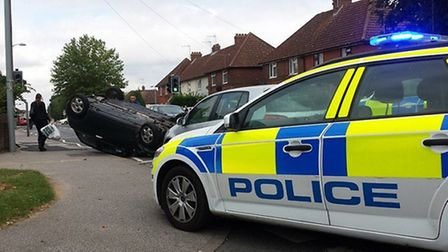 The overturned car in Nacton Road