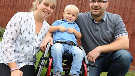 Laura Barber and Lee Woodward are chasing after their son George who, thanks to fundraising, has a w