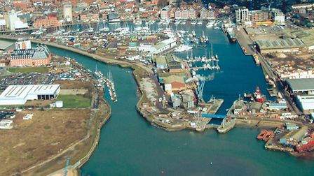Aerial picuture showing the New Cut (left) and the lock gates (right) which would be crossed by the