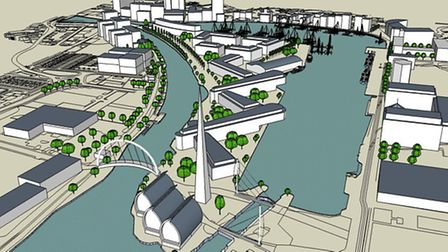 An impression of the possible development of the island site with the double bridge over the lock in