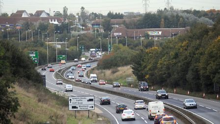 The A12 as it approaches the Copdock roundabout.