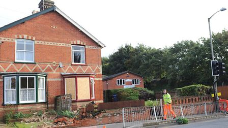 A van crashed into the wall of a house on Bramford Road by the junction of Sproughton Road on Monday