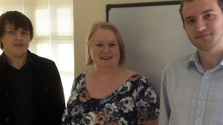 Gill Henderson from the Lighthouse Group with two of her apprentices: Left-right: Justin Sayer (appr