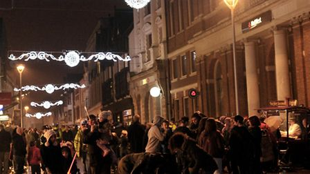 Last year's Christmas lights' switch on at the Cornhill in Ipswich - this year's event will be rathe