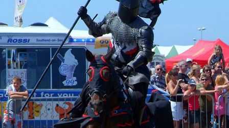 The Dark Knight prepares to joust at the Robin Hood Game and Country Show