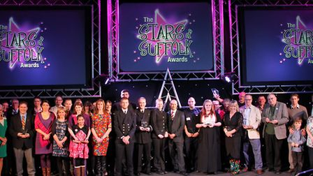 All of the winners at the Stars of Suffolk Awards held at Suffolk New College. Photograph Simon Park