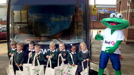 Children from Ranelagh Primary School with First�s mascot, Freddie the frog.
