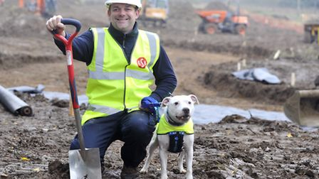 Felixstowe Blue Cross animal rehoming centre manager Andy Gillon and Staffordshire Bull Terrier Alfi
