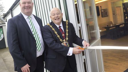 Whitton United Chairman Mark Richards and Ipswich Mayor Bill Quinton officially re-opened Whitton Un