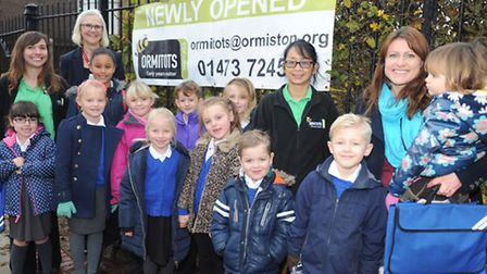 Cliff Lane School head teacher Jane Needle with staff, parents and children of the new Breakfast and