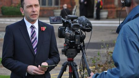 John Dugmore, chief executive of Suffolk Chamber of Commerce, being interviewed for TV during the ca