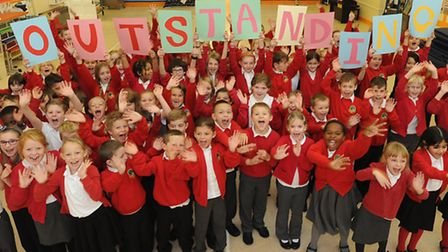 Pupils and Staff at Springfiled Juniors School, Ipswich, celebrate an Outstanding Ofsted report