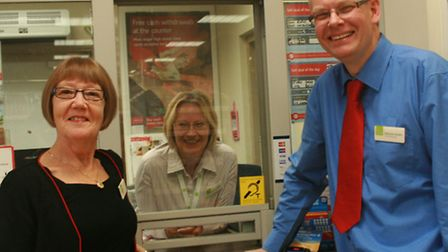 L-R Sue Withell, Senior Superviser at Bramford PO., Shirley Parker, Post Office Co-ordinator, East o