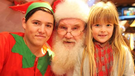 Breakfast with Santa at Isaacs on the Quay, Ipswich. Naughty Elf and Santa with Alleyah