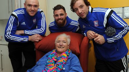 Ipswich Town players, Paul Anderson, Stephen Hunt and Conor Sammon are at St Elizabeth Hospice in Ip